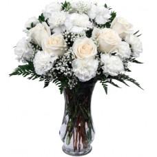 White Roses & White Carnations
